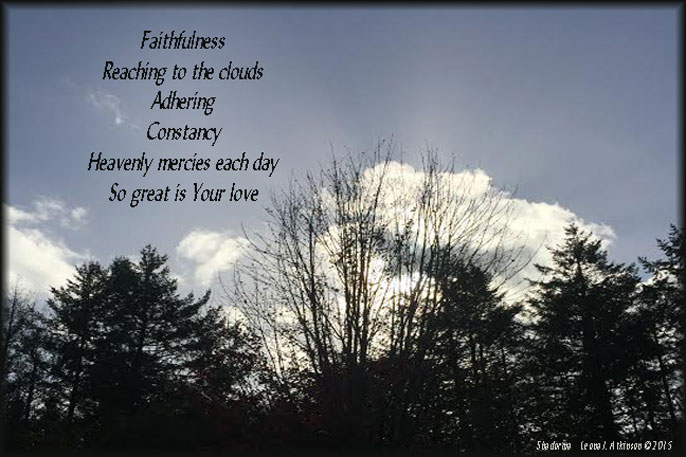 Sky, clouds, trees, Shadorma poem based on Psalms36:5 and Lamentations 3:22.23