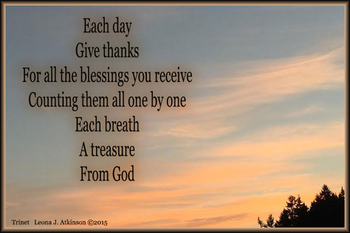 Give Thanks everyday--Sunrise photo--Trinet poem