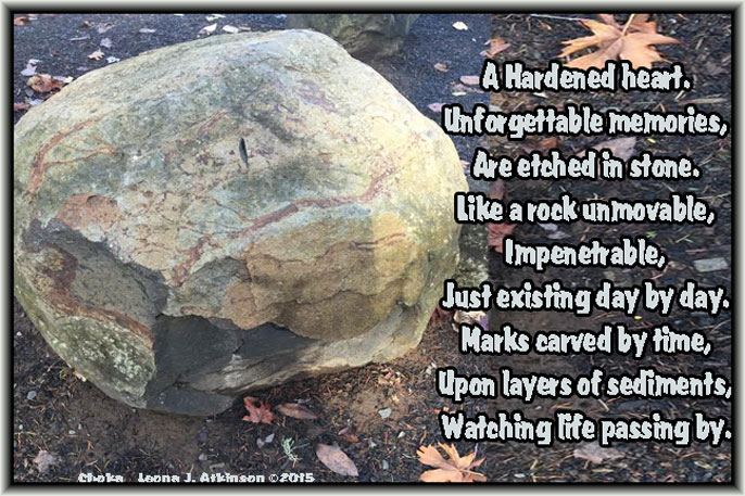 photo of a rock--Choka poem about a hardened heart