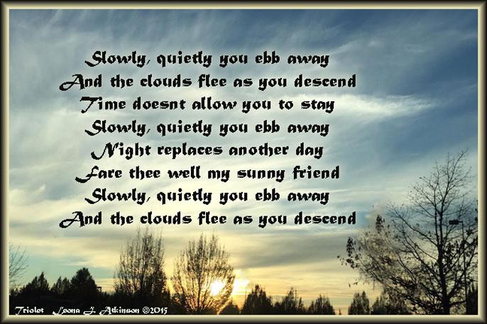 Sunset--Triolet poem