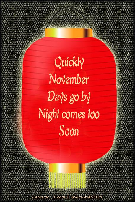 Japanese Lanturn, Lanturne poem, November days