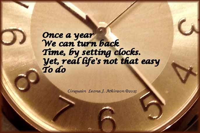 clock-Cinquain poem about turning back time