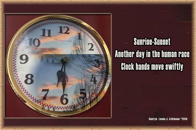 clock, sunset, Senryu poem
