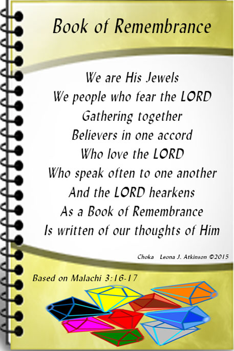 Book of Remembrance based on Malachi3:16-17--Choka poem