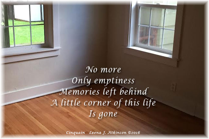 Corner of Life--Cinquain poem based on feelings of an empty room in an empty house--moving--memories