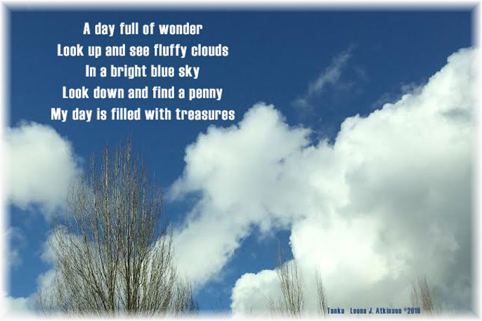 clouds, sky, treasures, Tanka poem