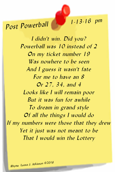 "Rhyme about post powerball loss--Video of Doris Day singing ""Que Sera Sera"""