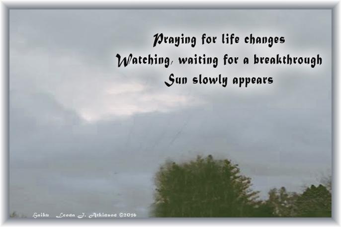 sun breaks through the clouds, Haiku poem