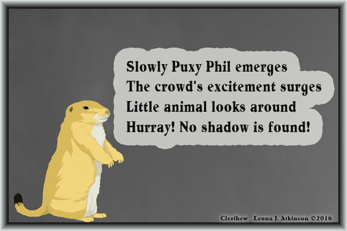 Groundhog Day 2016--Clerihew poem
