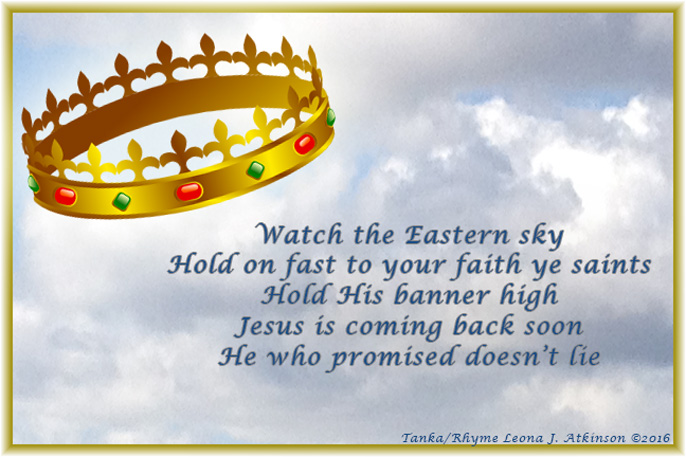 crown--sky--Tanka poem about holding fast your faith until Jesus returns