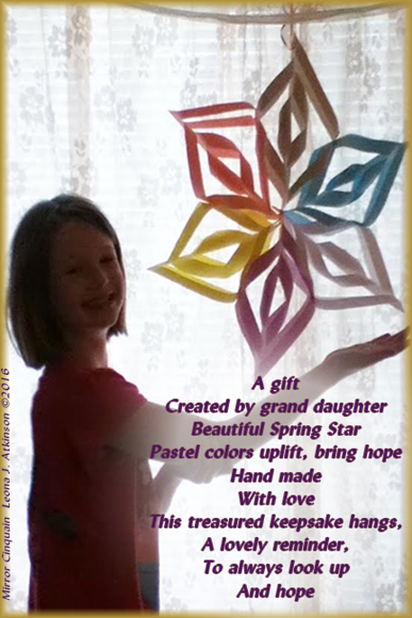 Spring Star--handmade gift--grand-daughter-Mirror Cinquain poem