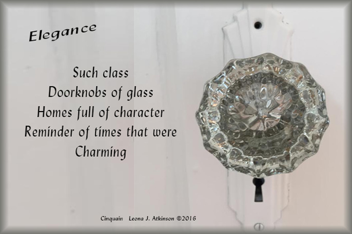 Glass Door Knob--Cinquain poem about elegance