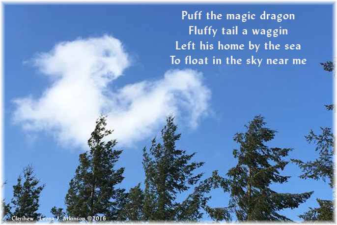 Clerihew poem about Puff the Magic Dragon--photo of a cloud shaped like a dragon