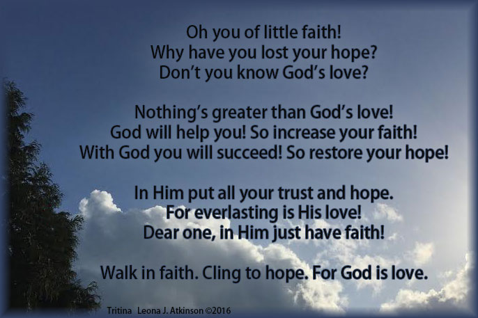 Tritina poem about faith, hope, love