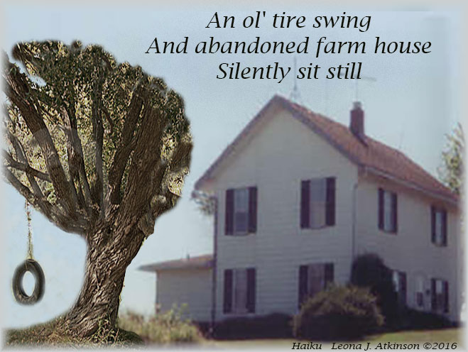Haiku--tire swing-old farmhouse