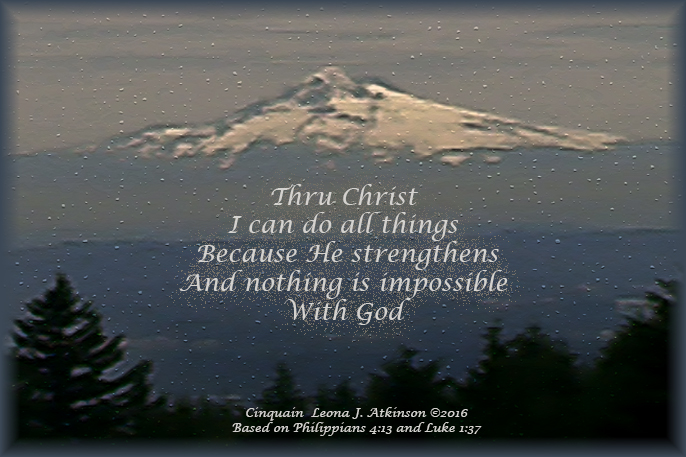 Mt. Hood, Cinquain poem, daily reminder from scriptures