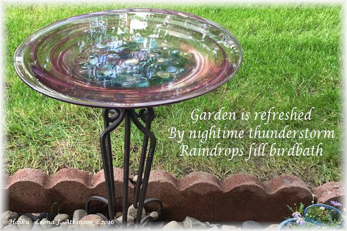 Springtime Rain--Haiku--birdbath