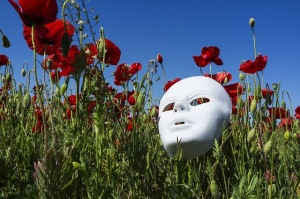 Mask, flowers