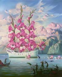 white ship with pink flower sails and pink clouds