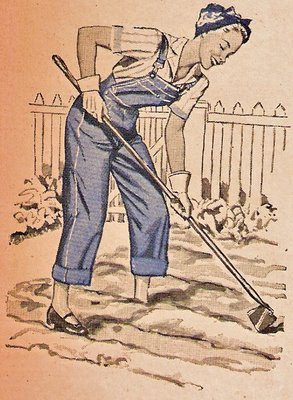 lady hoeing in a garden