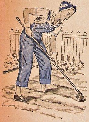 lady hoeing in a garden