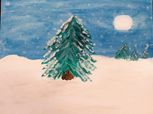 Winter Peace, original watercolor painting by Leona J. Atkinson