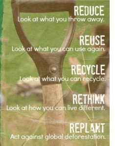 Reduce, Reuse, Recycle, Rethink, Replant