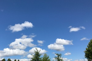 Blue sky with big puffy clouds