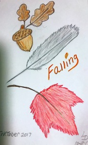 Falling. Leaves, Feather, Acorn drawing