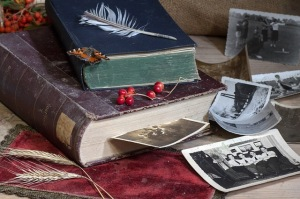 Books, photos, feather