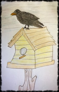 Crow on top of a birdhouse original drawing