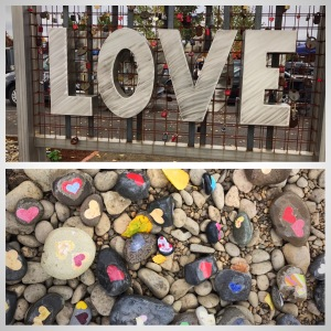 LOVE sign and Love Rocks