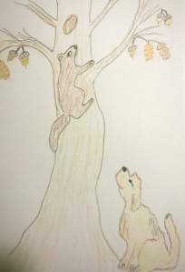 Squirrel climbing a tree with dog sitting below drawing