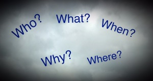 Who? What? When? Why? Where? Words In a cloud image