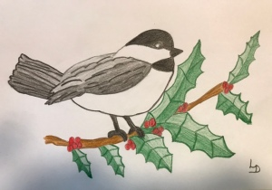Chickadee on Holly branch