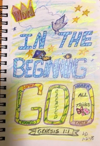 In The Beginning God created...Genesis 1:1 Drawing, artwork