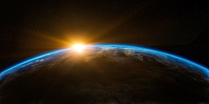 Sunrise over the earth taken from outer space