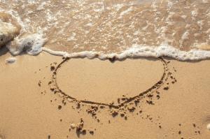 Ocean, sand, heart