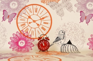 Clock, bird, butterflies, image suggesting time flying