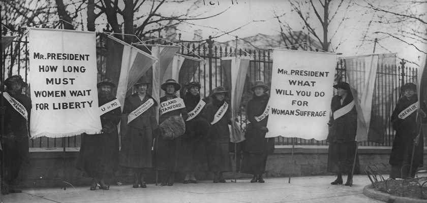 Iron Jawed Angels--women picketing with signs