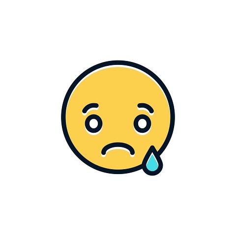 Sad face with teardrop