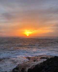 Sunset at Depoe Bay, Oregon, photo by Vivian Marcin 2018