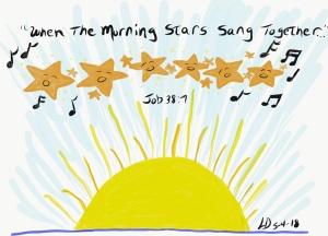 Original drawing of stars and sunrise, Job 38:7,