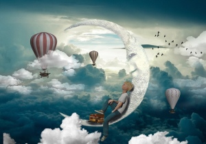 Dreaming, girl on the moon, hot air balloons, sky