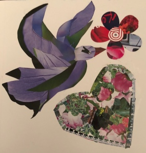 Paper Mixed Media Art, bird, flower, heart