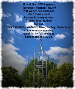 Church tower with cross, Lamentations 3:22-23 scripture verses