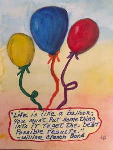Balloons watercolor drawing by Leonas Designs