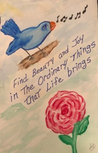 Blue Bird singing, Red Rose blooming, Watercolor by Leonas Designs