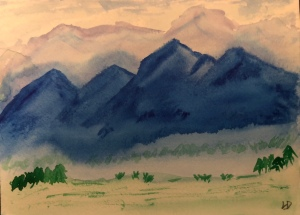 Mountains, original watercolor by Leonas Designs