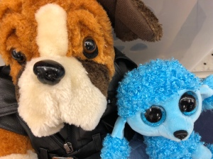Brown Dog with brown eyes, Blue Dog with blue eyes, stuffed animals,toys
